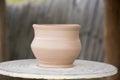 Earthenware pot on a circle Royalty Free Stock Photo
