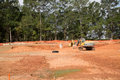 Earthmoving Equipment on Graded Residential Lots Royalty Free Stock Photo