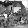 Earthquake collage collection and of destroy with grids Royalty Free Stock Image