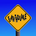 Earthquake hazard sign Stock Photography