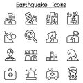 Earthquake icon set in thin line style