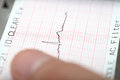 Earthquake on a seismograph photo Stock Photos