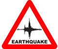 Earthquake warning sign red triangle with Stock Images