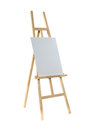 Easel with canvas clean on a wooden isolated on a white background Stock Image