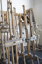 Easels in empty artist s studio view of group of Royalty Free Stock Image