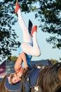 East anglia equestrian fair girl on horseback doing acrobatics ipswich suffolk uk october Stock Images