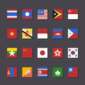 East asia flag icon set metro style and south vector illustration Royalty Free Stock Photography