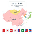 East Asia Map Full Color High Detail Separated all countries
