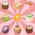 East delicious dessert sweets food confectionery homemade assortment vector illustration