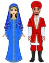 East fairy tale. Animation portrait of the Arab family in ancient clothes.