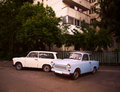 East german vintage cars parked on the street Royalty Free Stock Photo