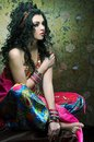 East girl young woman with long dark hair and in costume Royalty Free Stock Photos