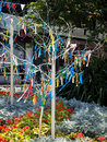 East grinstead west sussex uk july colourful looms and ribbons on artificial trees in on Stock Image