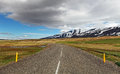 East iceland landscape with road sheep Stock Photos