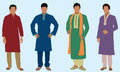 East indian men four wearing tradition clothes Stock Images