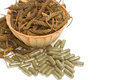 East indian screw tree and pills dry herb Royalty Free Stock Photos