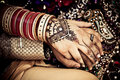 East Indian Wedding Couple Holding Hands Royalty Free Stock Image