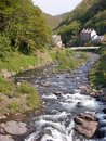 East Lyn river at Lynmouth Stock Photos