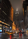 East nd street new york on rainy night usa april with grand central terminal and chrysler building in the background Royalty Free Stock Photos