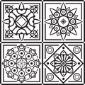 East ornament black in four squares Royalty Free Stock Images