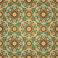 East ornate geometric decor seamless traditional ornament african stylized pattern on turquoise gold background Stock Images
