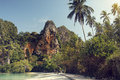 East railay bay in thailand beautiful cliffs of krabi Stock Image
