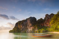 East railay beach thailand and scenic point of rocks popular with rock climbers krabi Stock Photo