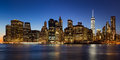 East River Evening View of Lower Manhattan, New York City Royalty Free Stock Photo