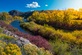 East River near Taylor HWY 135 Colorado Fall Landscape Royalty Free Stock Photo