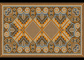 East rug in warm brown orange brown nuances picture of old carpet with the details of the ethnic ornament Stock Photo
