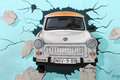 East side gallery, Berlin wall. Trabant Car. Royalty Free Stock Photo