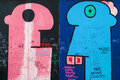 East side gallery some heads pink and blue from the mural by thierry noir on the on august in berlin germany Stock Images
