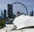 East View of Navy Pier Ferris Wheel Royalty Free Stock Photo