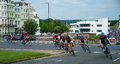 Eastbourne cycling festival cyclists at the east sussex uk june Royalty Free Stock Image