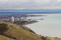 Eastbourne in distance on dull day seen from beach head overcast winter east sussex england united kingdom Royalty Free Stock Photos