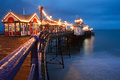 Eastbourne pier at dusk. Royalty Free Stock Photo