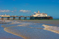 Eastbourne pier the at east sussex uk at low tide Royalty Free Stock Images