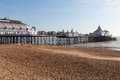 Eastbourne pier england at low tide united kingdom Royalty Free Stock Image
