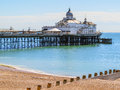 Eastbourne s pier and beach at english channel united kingdom east sussex england Royalty Free Stock Images