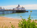 Eastbourne s pier and beach at english channel united kingdom east sussex england uk selective focus Stock Image