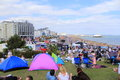 Eastbourne seafront panoramic view england thousands of people watching the final day of airshow east sussex united kingdom its Royalty Free Stock Photography