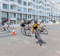 Eastbourne uk june eastbourne cycling festival on june mens race at at Royalty Free Stock Photo