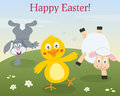 Easter animals dancing in a meadow funny happy greeting card with bunny rabbit cute lamb and chick with flowers eps file available Royalty Free Stock Photo