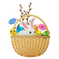 Easter Animals, Flowers and Eggs Illustration