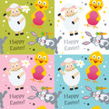 Easter animals seamless pattern a with funny bunny rabbit lamb and chick in four different colors useful also as design element Royalty Free Stock Photography
