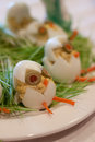 Easter appetizer eggs decorations egg chicks Royalty Free Stock Photography