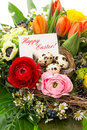 Easter arrangement eggs decoration greeting card colorful with and spring flowers bouquet tulip ranunculus hyacinth daisy anemone Royalty Free Stock Photos