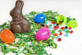 Easter background with chocolate bunny and jelly beans