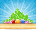 Easter background with colorful eggs, leaves, flow Stock Images