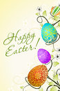 Easter background with decorated eggs and flowers Stock Photo